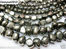 Natural Iron Pyrite Gemstone Freeformed Nugget Loose Beads 16'' Inches Strand