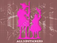 Pegatina Don Quijote y Sancho Panza 3D Relieve - Color Rosa