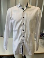 """Eterna Slim Fit Crisp White 16.5"""" Collar Shirt With Navy Accents"""