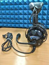 Used Rugged Air RA900 General Aviation Pilot Headset Dual Plugs w/ Gel Ear Seals