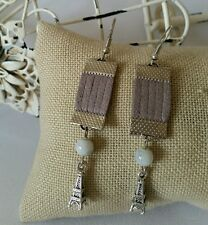 Retro Silver Hook Tibetan Grey Leather Suede Long Fashion Earrings USA