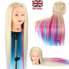"26''-28"" Rainbow Colorful Hair Hairdressing Training Head Mannequin Doll &Clamp"