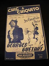 Partitura Chic en chiquito Georges Guétary Film Cavalier Negro Music Sheet