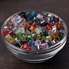 25pcs 6mm Cube Square Faceted Crystal Glass Loose Spacer Beads Random Mixed