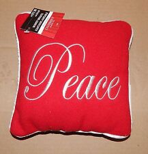 """Christmas Pillow Whimsy Brights Peace 8"""" Square Red/Sliver Celebrate It 91A"""
