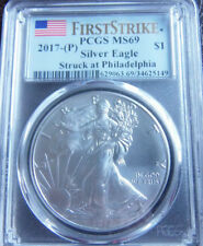 2017-P Silver Eagle. PCGS MS69, RARE !! First Strike Coin, 8,386 Certified 69 !!