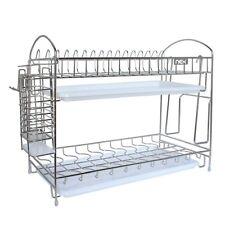 Stainless Steel Dish Rack 2 Tier Drying Kitchen Organizer Plate Drainer Holder