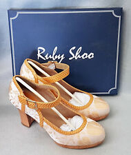 Ruby Shoo Cassandra Sand Mary Jane Strap Ladies High Heel Platform Shoes Size 7