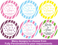 36x Round Personalised Baby Shower Stickers / Labels - Party Ready To Drop