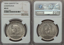 Rare 1929 A Germany Silver 5 marks-Constitution-Hindenburg-NGC MS 61