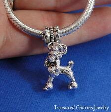 Silver POODLE Dog Dangle Bead CHARM fits EUROPEAN Bracelet