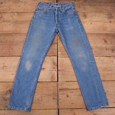 """Vintage Levis 501 Stonewash Blue Worn Distressed Denim Jeans 29"""" x 30"""" R18088"""