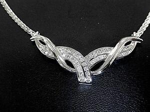 "14K White Gold 1.00CT VS Diamond Statement HIGH QUALITY Necklace 16"" Length"