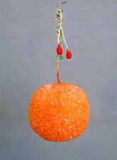 Antique German Christmas Tree Ornament Spun Cotton Orange 1930s