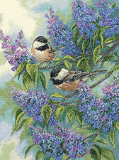Cross Stitch Kit ~ Gold Collection Chickadees and Lilacs Birds in Flowers #35258