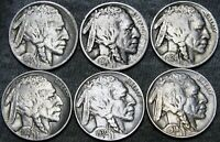 1913-S 1914-S 1924 1929 1930-S 1938-D Buffalo Nickel --- Stunning Lot --- #D357
