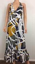 Maeve size 8 100% cotton lined maxi dress geometric pattern halter top