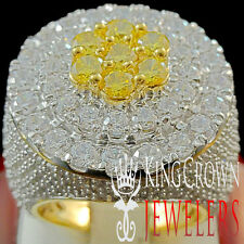 REAL YELLOW GOLD SILVER MENS BIG XXL CITRINE CANARY JUMBO RING BAND LAB DIAMOND