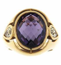 Antonini Amethyst and Yellow Beryl Ring 18K Yellow Gold NEW Size 6.5