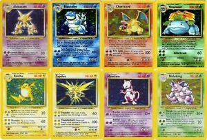 Pokemon cards Base set RARE HOLO (Blastoise, Alakazam, Charizard, Venusaur etc)