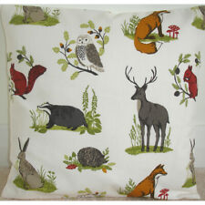 """24"""" Cushion Cover Stag Fox Badger Squirrel Hare Owl Brown Grey Wildlife Animals"""