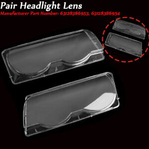 2PCS Headlight Lens Cover Fit for BMW 7 Series E38 Facelift 99-01 63128386953/54