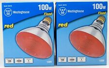 New Set Of 2 Westinghouse BR38 100W Red Flood Light Bulb 04410