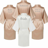 Champagne Personalized Satin Silk Wedding Bride Robe Bridesmaid Maid Honor Gown