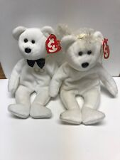 TY Beanie Babies Mr. / Mrs. Bride and Groom White Wedding Bears Collectible