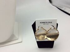 "Kenneth Cole New York ""Flat Mate"" Pave Gold Hoop Earring $35 15A"