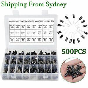 24 Values 500pcs Electrolytic Capacitor Assortment Box Kit Range 0.1UF-1000UF AU