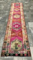 """Turkish Wool Runner, Vintage Hand Knotted Soft Pile 12'7""""x 2'6"""" FREE SHIPPING!"""