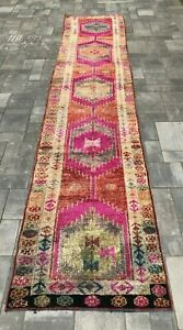"Turkish Wool Runner, Vintage Hand Knotted Soft Pile 12'7""x 2'6"" FREE SHIPPING!"