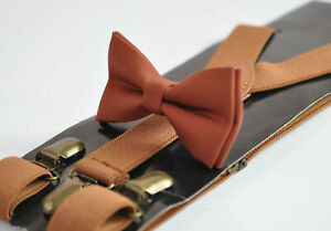 Rust Rusty Cotton Bow tie bowtie + Tan Brown Elasitc Suspenders Braces