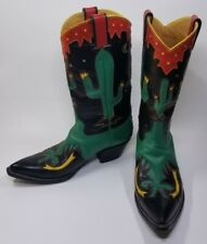Rocketbuster Boots Women's Western Hand Tooled Inlaid Cactus Cowboy Boot -Size 9