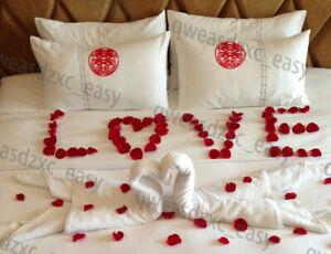 100PCS RED SILK ROSE PETALS FLOWER CONFETTI WEDDING ENGAGEMENT DECORATION G0A V