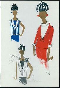 PIERRE BALMAIN Original drawing old Fashion Scketch ART COUTURE Paris unsign 57