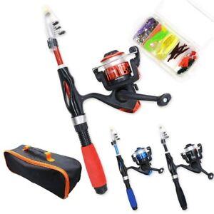 Fishing Rod Reel Portable Telescopic Spinning Mini Pole Combo Carbon Fiber Lures