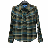 Doncaster Womens 10 Green Blue Plaid Long Sleeve Button Ruched Front Blouse