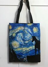 Starry Night Canvas Greyhound or Whippet Dog Tote Bag