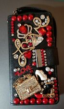 """Fits Samsung Galaxy Note 5❤""""LOVE"""" Wallet Case❤Custom Bling❤Crystals❤Purse Crown"""