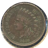 1860 1C Indian Cent, Pointed Bust (60387)