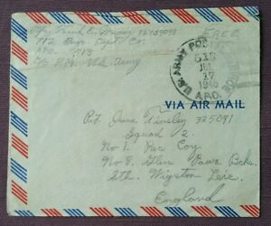 1945 US Army Postal Service Reused Air Mail Cover to Glen Parva Bcks, Wigston