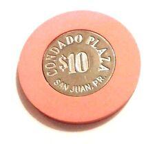 $10 CONDADO PLAZA Casino Coin SOLID PINK Chip SAN JUAN Puerto Rico Bud Jones