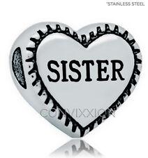 STAINLESS Steel European Charm Bead Sister Heart Sibling Love Gift vix4pandora