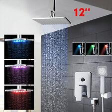 Mélangeur de robinet de douche en pluie chromé à LED 12 pouces Set