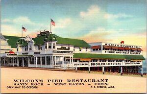 Linen Postcard Wilcox's Pier Restaurant Savin Rock West Haven Connecticut~463