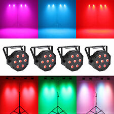 4 Pcs RGBW 7LED DMX512 Par Light 4-in-1 Par Can Stage Lighting Club Wedding