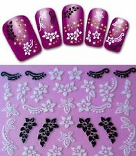 3D Nail Art Stickers Elegant Lace Flower Nail Decals Decor Manicure Tips Art ♫
