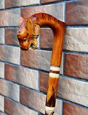 TIGER Cane Walking Stick Carved Wooden Handmade Sale